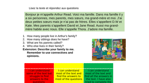 Ma famille, mi familia, my family worksheet