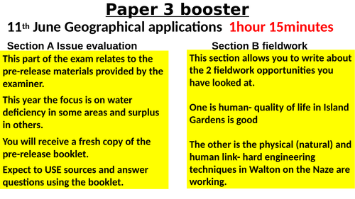 Geography AQA 1-9 Paper 3 fieldwork and pre-release