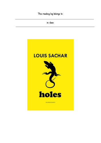 Holes, Louis Sachar Chapter by Chapter Reading Log