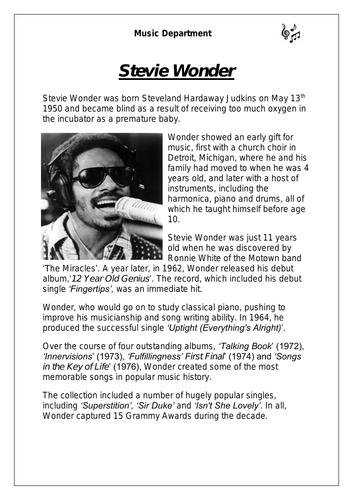 KS3 Music Cover Resource - Stevie Wonder