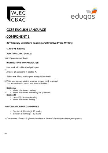 NEW - Eduqas GCSE English Language Component 1 Practice Examination Paper (20th Century Literature R