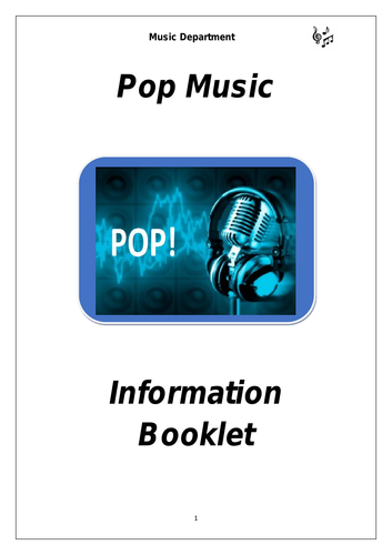 KS3 Pop Music Cover Booklet (for middle sets)