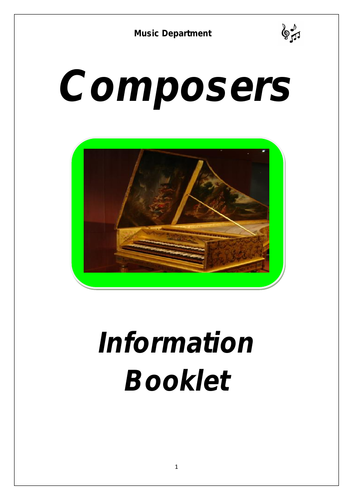 KS3 Music Composers Cover Booklet
