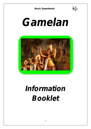 KS3 Gamelan Music Cover Booklet