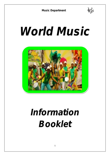 KS3 World Music Cover Booklet