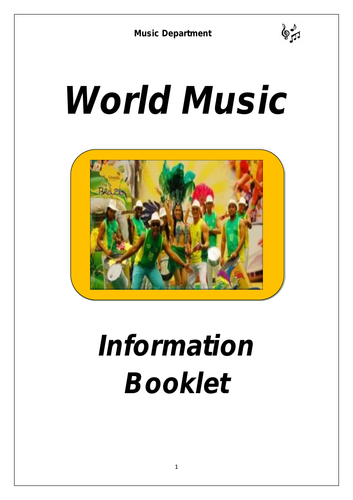 KS3 World Music Cover Booklet (differentiated for lower sets)