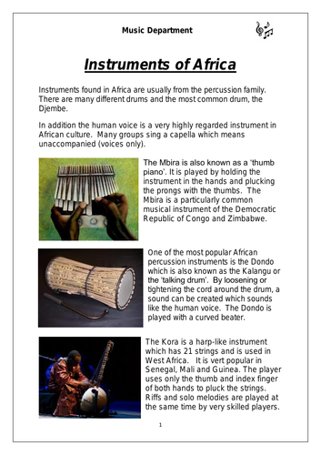 KS3 African Instruments Worksheet (differentiated for lower ...