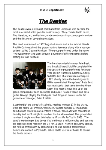 KS3 Music Cover Resource - The Beatles