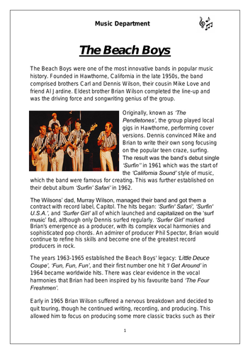 KS3 Music Cover Resource - Beach Boys
