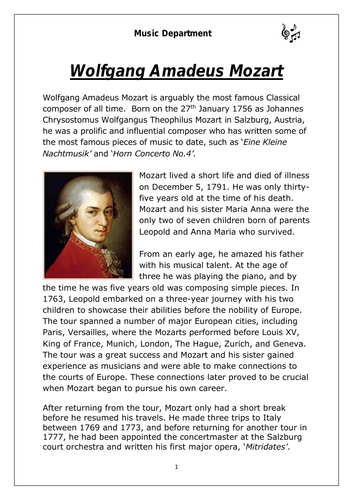 KS3 Music Cover Resource - Mozart