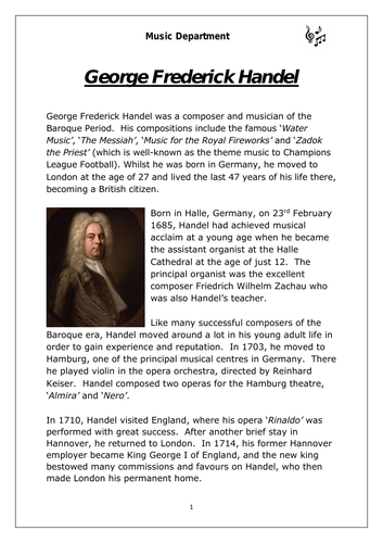 KS3 Music Cover Resource - Handel