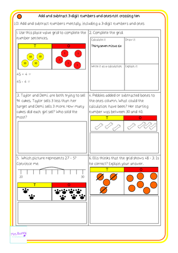 add and subtract digit numbers and ones  not crossing ten  add and subtract digit numbers and ones  not crossing ten differentiated  worksheets y as by mrssbunny  teaching resources  tes