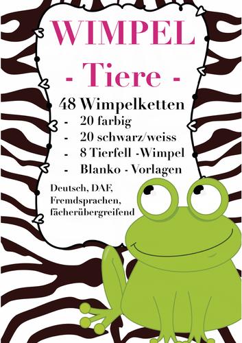 German WIMPEL Tiere - 20 farbig + s/w, 8 Tierfell -pennants Blanko - Vorlagen, DAF, Deutsch, animals
