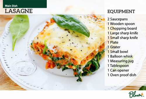 Food Technology Lasagne Recipe Card