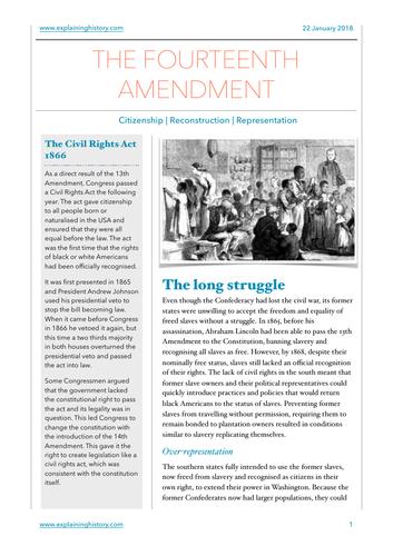 Fourteenth Amendment Study Notes