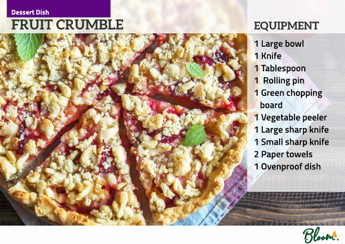 Food Technology Fruit Crumble Recipe Card