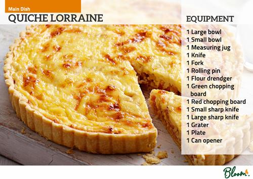 Food Technology Quiche Lorraine Recipe Card