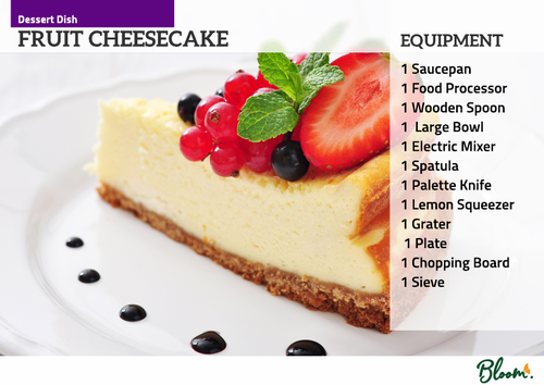 Food Technology Cheesecake Recipe Card