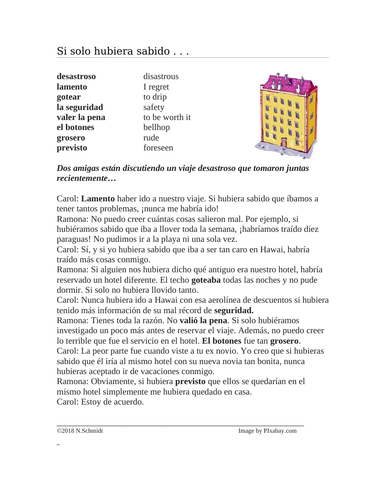 Pluperfect Subjunctive and conditional Perfect Spanish Reading: Si hubiera sabido Lectura