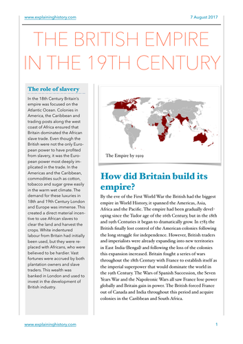 The British Empire in the 19th Century Study Notes
