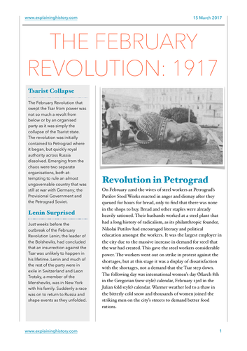 The February Revolution Study Notes and Questions