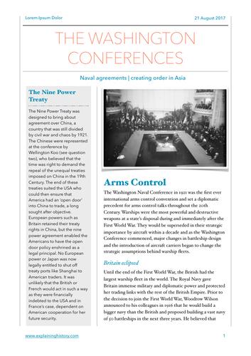 The Washington Conferences Study Notes