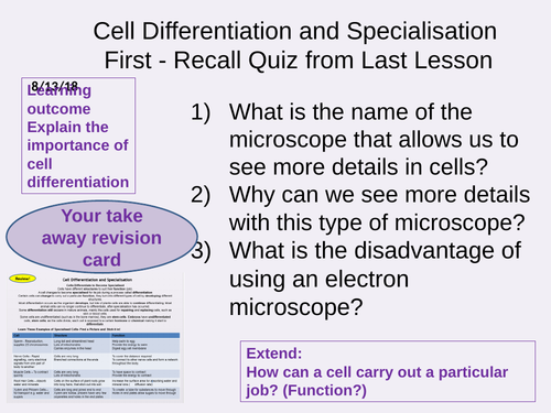 AQA Biology and Trilogy Cell Specialisation and Differentiation NEW 9-1 GCSE