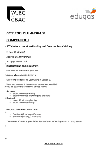 Eduqas GCSE English Language Component 1 - Practice Examination Papers.