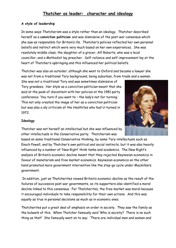 AQA A level, Modern Britain, 1951-2007, Thatcher as a leader