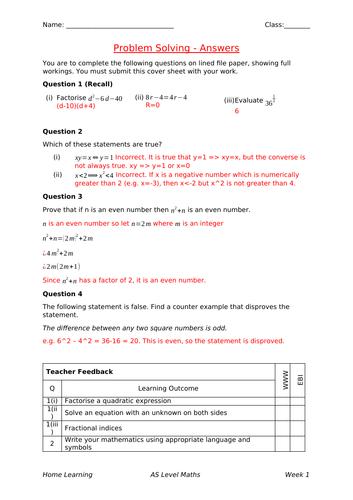 New A Level Maths Homework: Problem Solving
