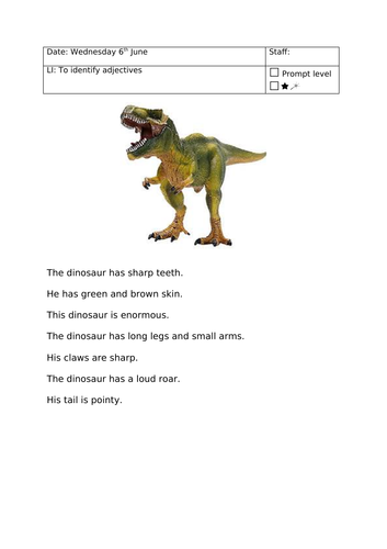 dinosaur adjective identification by mayacmistry teaching resources. Black Bedroom Furniture Sets. Home Design Ideas