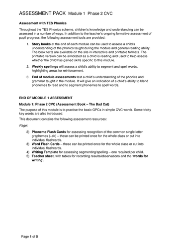 Reading and Writing Assessment Pack - Phase 2