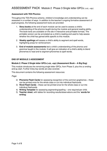 Reading and Writing Assessment Pack - Sets 6-7 Phase 3
