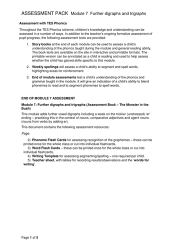Reading and Writing Assessment Pack - Vowel Graphemes ar, or, ur, ear, oi, ow, air, ure, er  Phase 3