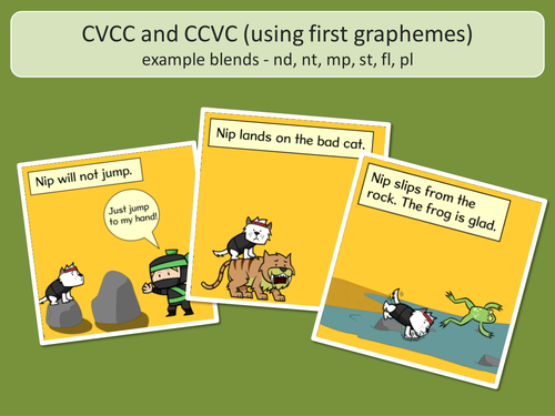 CVCC and CCVC Word Pictures and Captions - Phase 4