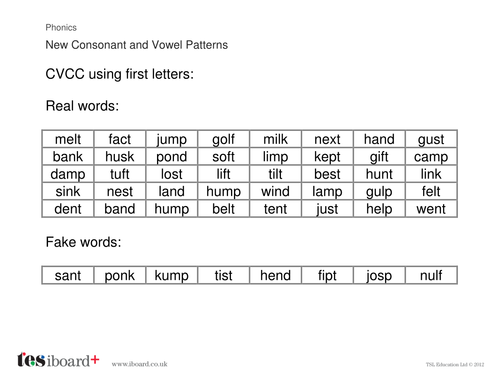 Real and Alien Word List - CVCC and CCVC - Phase 4