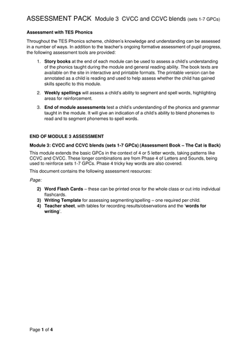 Reading and Writing Assessment Pack - CVCC and CCVC Phase 4