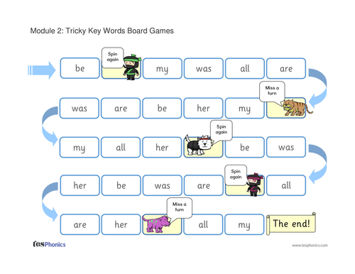 Tricky Words Board Game - Phase 3