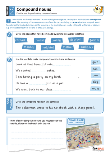 Spotting and making compound nouns worksheet - Year 2 Spag