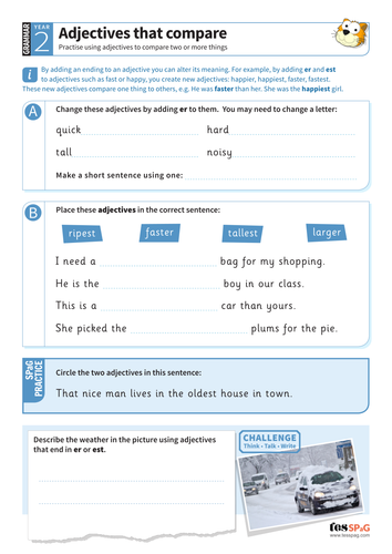 Using adjectives that compare worksheet - Year 2 Spag