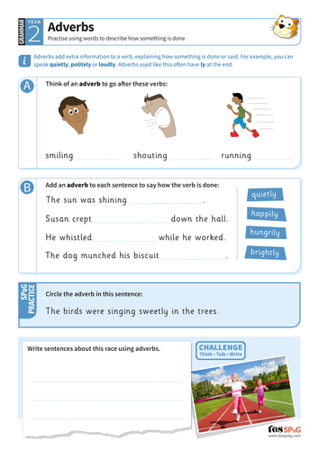 Using adverbs worksheet - Year 2 Spag