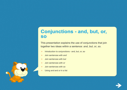 Conjunctions (and, but, or, so) Teaching Presentation - Year 2 Spag