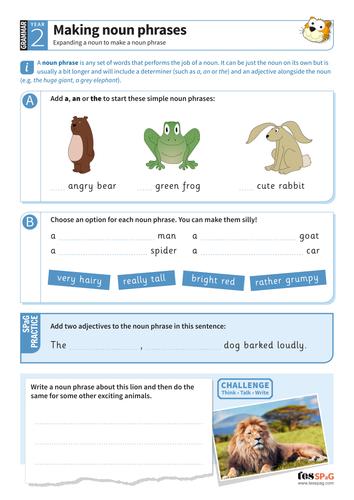 Making noun phrases worksheet - Year 2 Spag