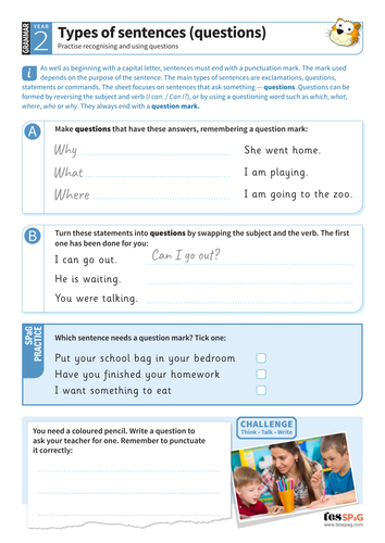 Using different types of sentences (questions) worksheet - Year 2 Spag