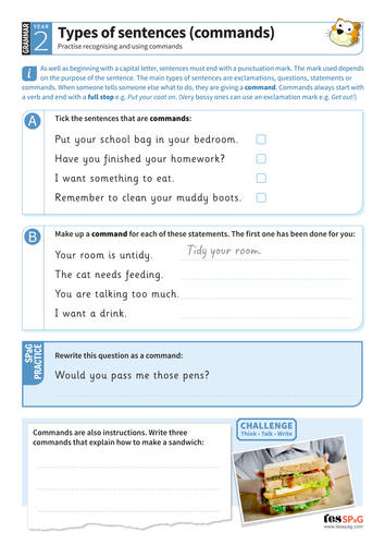 Using different types of sentences (commands) worksheet - Year 2 Spag