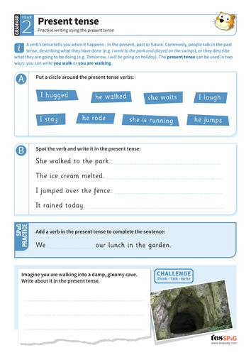 Present tense worksheet - Year 2 Spag