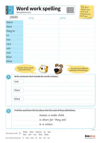 Homophones - Spelling Worksheet - Year 3 Spag by ...