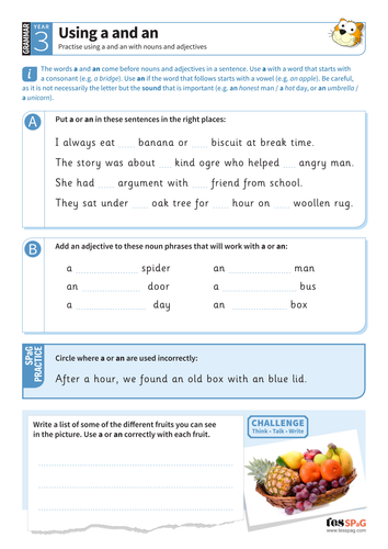Using 'a' and 'an' with nouns worksheet - Year 3 Spag