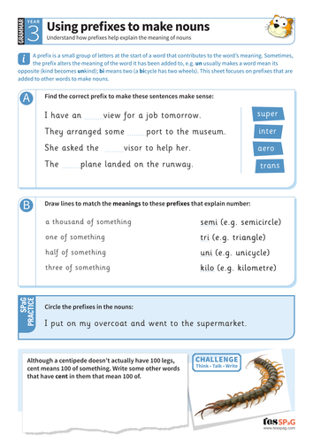Using prefixes to make nouns worksheet - Year 3 Spag