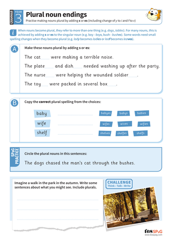 Making nouns plural worksheet - Year 3 Spag